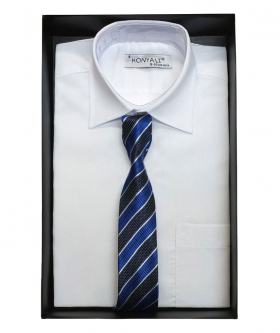 Boys Classic Collar White Shirt With Tie Design Choice view of the shirt with navy blue stripes