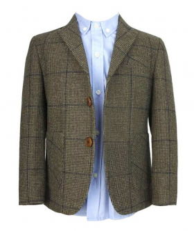 Front view from the blazer jacket and shirt of the Boys Herringbone Tweed 4 Piece Wool Suit in Brown and Navy Blue