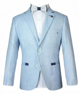 Boys Summer Linen Blazer Jacket in Ice Blue with accessories Front picture