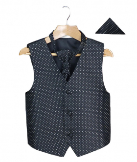 Boys Men's Black Wedding Waistcoat Cravat Hanky Set