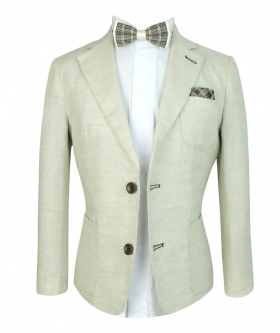 Boys Communion Linen Formal Jacket  Suit with accessories in Tan Beige front open picture
