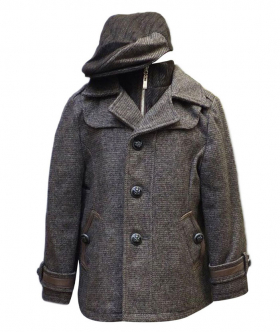 Boys Formal Winter Coat and Hat in Brown