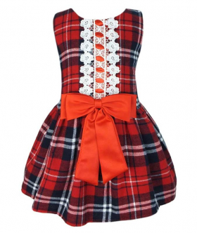 Baby Girls Tartan Highland Sleeveless Party Dress view with the bow.