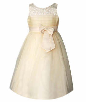 Front view of the Flower Girls Party Dress With Satin Bow In Champagne