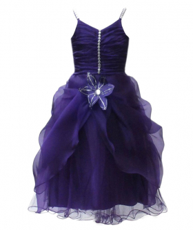 Purple Flower Girls Dresses, Sleeveless Party Prom Wedding Dresses