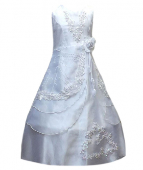 Flower Girls Layered Wedding Bridesmaid Party Dress in White Front Picture