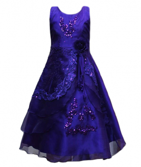 Flower Girls Layered Wedding Bridesmaid Party Dress in Purple Front picture