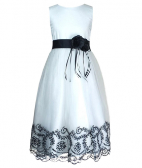 Girls White Dress with Black Flower Sash - Flower Girls Dresses