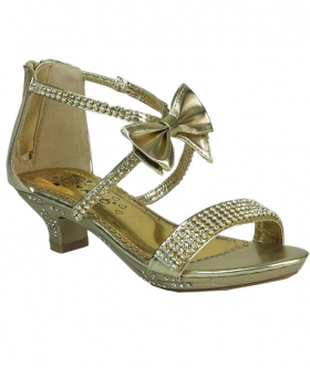Girls Kitten Heel Wedding Prom Special Occasion Shoes in Gold side picture