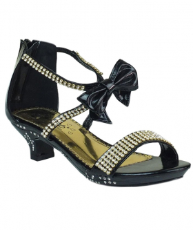 Girls Kitten Heel Wedding Prom Special Occasion Shoes in Black side picture