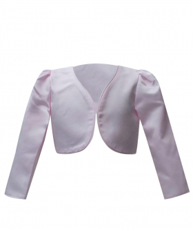 Front view of the Long Sleeves Bolero for Girls in Pink