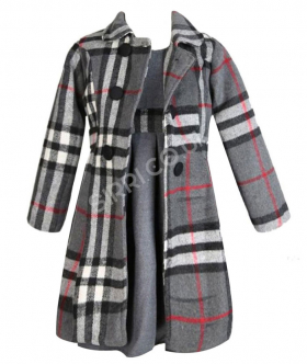 NEW 3PC Girls Winter Coat with Dress - Grey