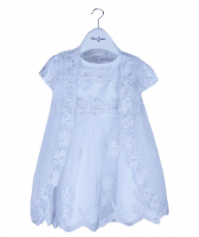 Baby Girls 3 Piece Christening Baptism Outfit Girl White Lace Embroidered Dress Gown Cape and Hat Bonnet Set