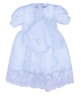 Baby Girls 3 Piece Christening Baptism Outfit Girl White Lace Embroidered Gown Cape and Bonnet Set