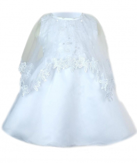 Near view of the Baby Girls Embroidered Christening Dress with cap in White