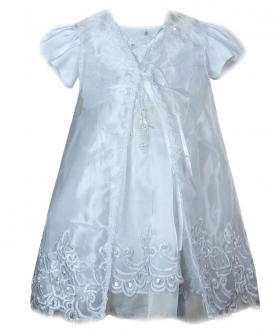 Baby Girls Embroidered Christening Dress with cap in White front picture