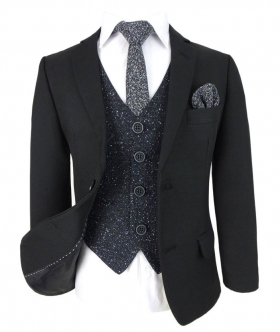 Designer Boys Black Suit with Navy Blue Cosmo Waistcoat Set, open view of the jacket with waistcoat, shirt, tie and hanky
