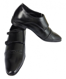 View of the Boys Double Monk Shoes in Black