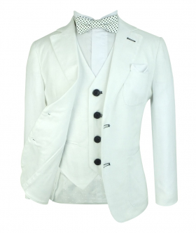 Boys White Linen Wedding Page Boy  Jacket, single-breasted waistcoat with shirt and accessories front open picture