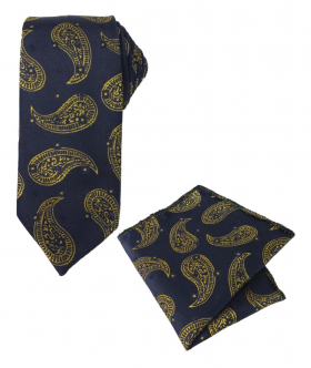 Boys & Men Paisley Diamond Printed Formal Tie and Hankie Set in Navy Blue and Gold for special occasions