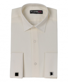 Front view of the Boys Double Cuff Classic Collar Shirt with Cufflinks