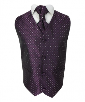 Boys 4 Piece Diamond Design Wedding Waistcoat Suit in Purple