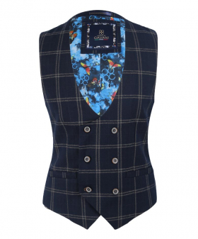 View of the Men's Hardy Navy Blue Vintage Tweed Check Double Breasted Waistcoat