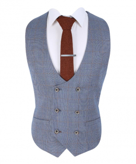 View of the Men's Slim Fit Windowpane Tweed Check Waistcoat inDel Ray Blue with shirt and tie