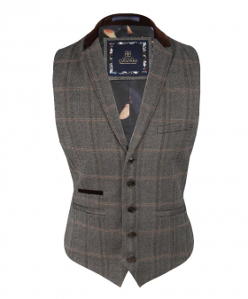 Front view of the Men's Slim Fit Tweed Check Retro Waistcoat Connall Brown