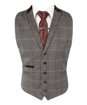 Front view of the Men's Slim Fit Tweed Check Retro Waistcoat Connall Brown with shirt and brown tie