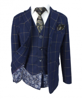 Front view of the Boys Navy Blue & Gold 6 Piece Windowpane Check Suit Set