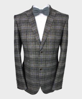 Paul Andrew Men's Tailored Fit Check Tweed Blazer in Charcoal Grey