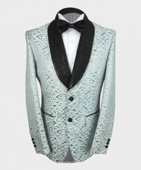 Closed view of the blazer jacket from the Mens Embroidered Ivory & Teal Wedding Groom Blazer