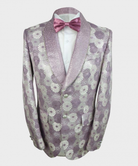 View of the blazer jacket with shirt and bow tie from the Robert Simon Men's Floral Embroidered Purple Wedding Groom Blazer