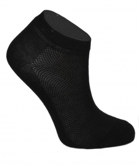 Side view from one sock of the Kids Unisex Stretch Cotton Ankle Casual Socks in Black