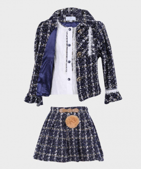 Girls Tweed Tailored Fit 3 PC Skirt Set in Navy Blue