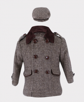 Boys Tweed Check Coat Tailored Fit 2 PC Set in Brown