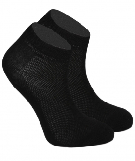 Side view from the pair of Kids Unisex Stretch Cotton Ankle Casual Socks in Black