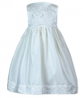 Baby Girls Embroidered Christening Dress in White front picture
