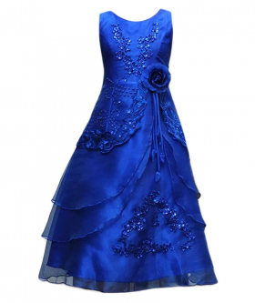 Flower Girls Layered Wedding Bridesmaid Party Dress in Royal Blue Front Picture