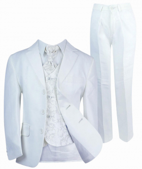 Boys All in One Communion Tailored Fit White Suit