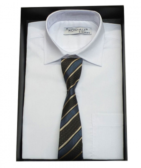 Boys Classic Collar White Shirt With Tie Design Choice view of the tie with blue stripes