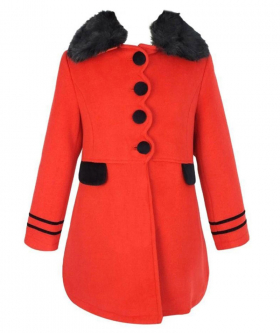 View of the coat with fur faux collar from the Designer Girls Coat and Hat Set in Red