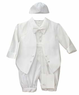 Baby Boys All In One White Christening Suit by Romano