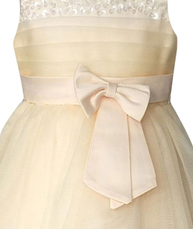 View from the bow of the Flower Girls Party Dress With Satin Bow In Champagne