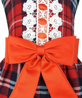 Baby Girls Tartan Highland Sleeveless Party Dress view with bow detail.