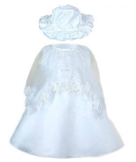 Front view of the Baby Girls Embroidered Christening 3 Piece Dress Set in White