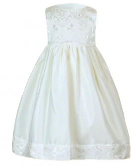 Baby Girls Embroidered Christening  Dress Set in Ivory front picture