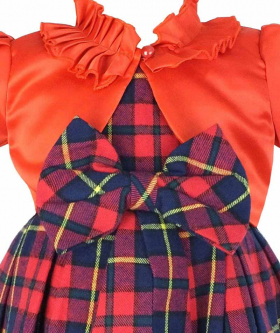 Couche Tot Tartan Sleeveless Party Red Check Christmas Dress. Front view from the dress and bolero.