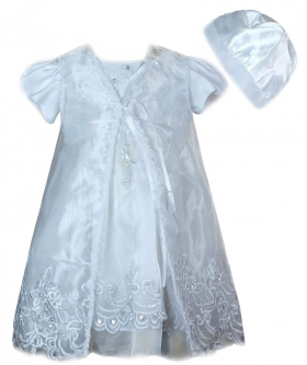 View from the dress, gown and cap of the Baby Girls Embroidered Christening Dress 3 Pieces Set